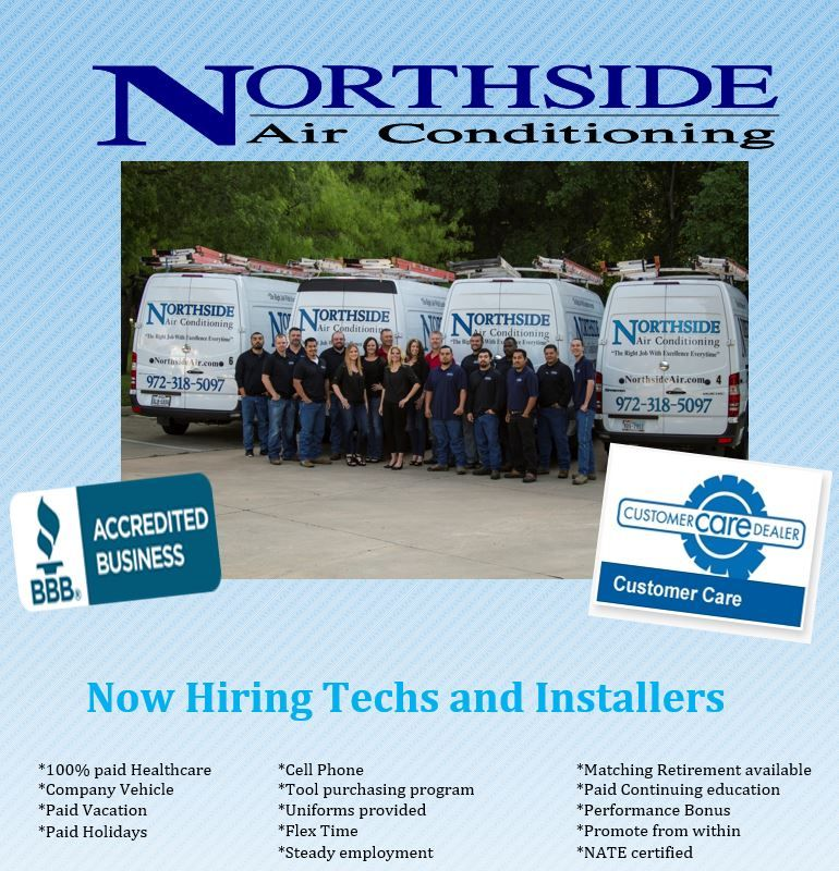 Northside Air Conditioning Now Hiring Flyer